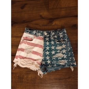 TOPSHOP American Flag Denim Shorts